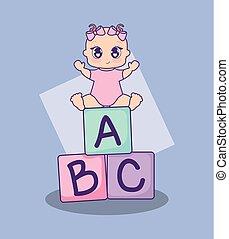 geschenkparty, karte, mit, m�dchen, und, alphabetblöcke