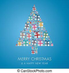 geschenkschachtel, bunte, weihnachtsbaum, stapel