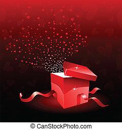 geschenkschachtel, für, valentinestag