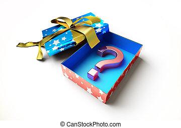 geschenkschachtel, fragezeichen, symbol, in