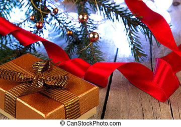 geschenkschachtel, mit, goldenes, geschenkband