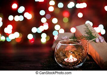 geschenkschachtel, und, kerzen, auf, weihnachten, hintergrund