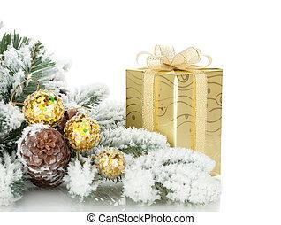 geschenkschachtel, weihnachten, dekor, und, verschneiter , tanne