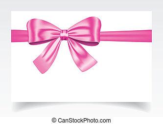 geschenkschein, mit, rosa, schleife