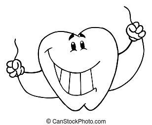 geschetste, dentaal, tand, karakter
