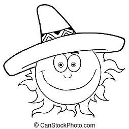 geschetste, glimlachende zon, met, sombrero