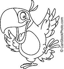 geschetste, papegaai, dancing
