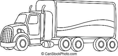 geschetste, vrachtwagen, spotprent