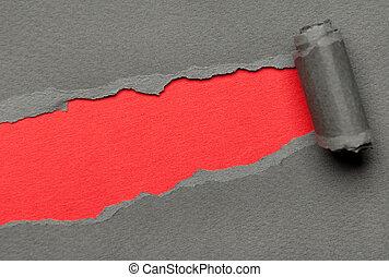 gescheurd, grijze , papier, met, rood, ruimte, voor,...