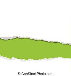 gescheurd, groene achtergrond, strook
