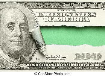 gescheurd, honderd dollars