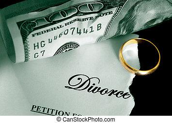 gescheurd, scheiding, decreet, en, contant, met, trouwring