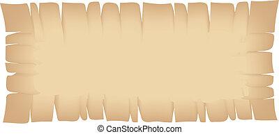 gescheurd, spandoek, beige, rechthoek