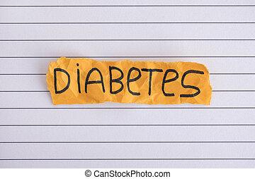 gescheurd, stuk, van, gele, papier, met, de, woord, diabetes