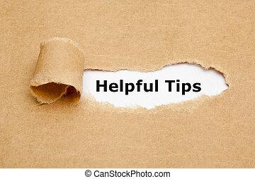 gescheurd, tips, papier, behulpzaam