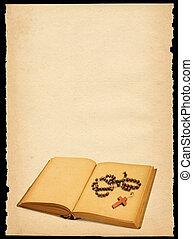 gescheurd, uit, oud, blad van document, met, boek, en, bidsnoer