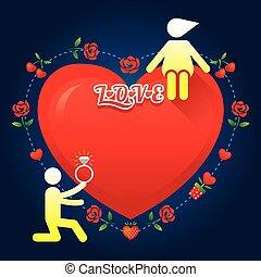 geschichte, liebe, symbol, menschliche , :, heiraten