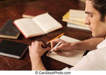 geschichte, seine, start, autor, ihm, junger, words., gehen...