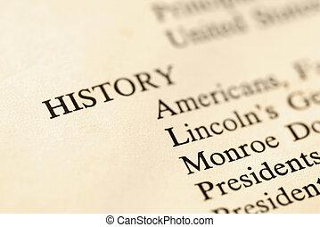 geschiedenis, boek, page.