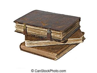 geschiedenis, -, drie, oud, rafelig, boekjes , vrijstaand
