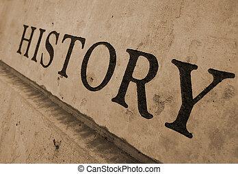 geschiedenis, gekerfde, in, steen
