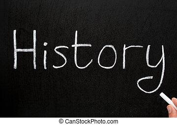 geschiedenis, geschreven, met, witte , krijt, op, een,...