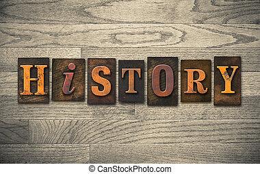 geschiedenis, houten, letterpress, concept