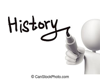 geschiedenis, man, 3d, woord, geschreven