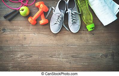 geschiktheidsmateriaal, gezond voedsel, gymschoen, karaf, en, baddoek