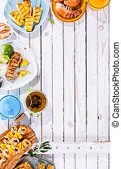 geschirr, hölzern, meeresfrüchte, fruechte, gegrillt, tisch