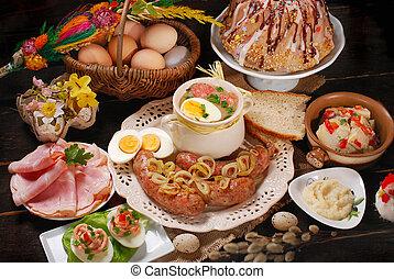 geschirr, hölzern, traditionelle , tisch, ländlich, ostern