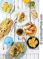geschirr, meeresfrüchte, rustic, fruechte, gegrillt, tisch