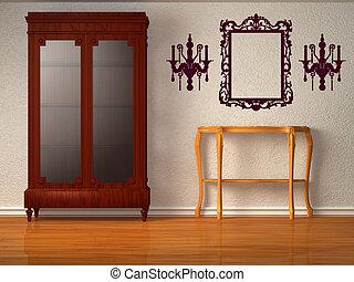 holztisch bank h lzern standleuchte inneneinrichtung tisch wei es bank. Black Bedroom Furniture Sets. Home Design Ideas