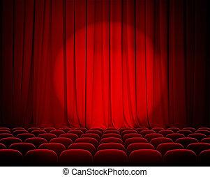 geschlossene, theater, rote vorhänge, mit, scheinwerfer,...