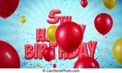 geschlungen, 10., 5., gruß, geburstag, bewegung, wünsche, konfetti, luftballone, glücklich