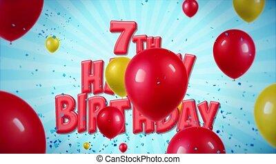 geschlungen, 14., gruß, geburstag, bewegung, konfetti, wünsche, 7., luftballone, glücklich