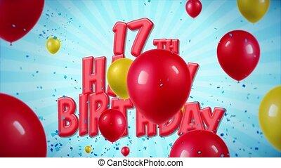geschlungen, 17, gruß, geburstag, bewegung, wünsche, konfetti, luftballone, rotes , glücklich