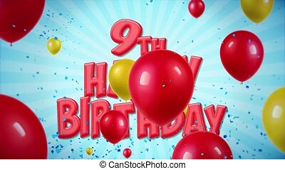 geschlungen, 18., gruß, geburstag, bewegung, wünsche, 9., konfetti, luftballone, glücklich