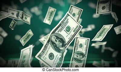 geschlungen, fliegendes, dollar, auf, 100, rechnungen