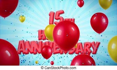 geschlungen, gruß, jubiläum, bewegung, wünsche, 30.15th, konfetti, luftballone, rotes , glücklich