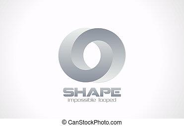 geschlungen, schmuck, form., mode, vector., logo, unmöglich