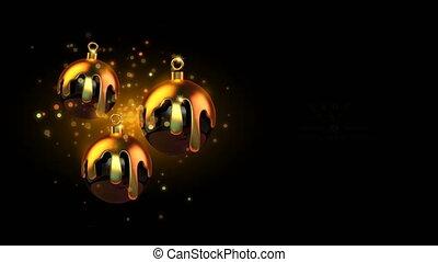 geschmolzen, gold, weihnachtskugel, jahreswechsel, nacht, party