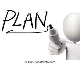 geschreven, 3d, woord, plan, man