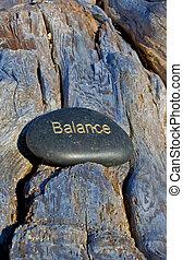 geschreven, evenwicht, gold., rots