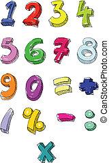 geschreven, getallen, kleurrijke, hand
