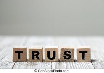 geschreven, hout blok, woord, vertrouwen