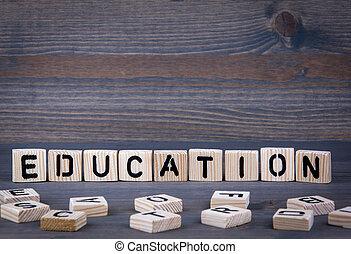 geschreven, hout, woord, opleiding, blok