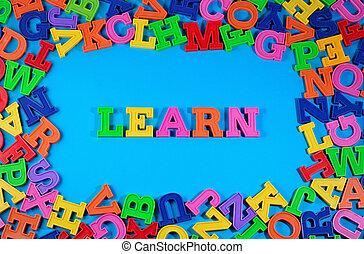 geschreven, leren, brieven, kleurrijke, plastic