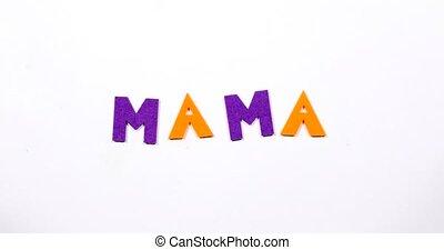 geschreven, letters., woord, dancing, mama
