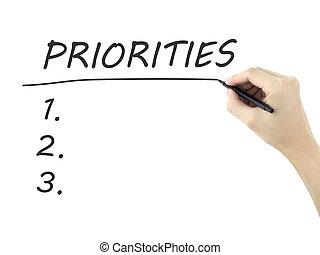 geschreven, man's, woord, priorities, hand